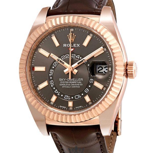 Rolex Sky Dweller Replica 326135RSL Brown Strap 42MM