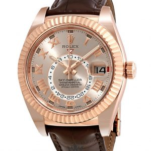 Rolex Sky Dweller Replica 326135SNRL Brown Strap 42MM