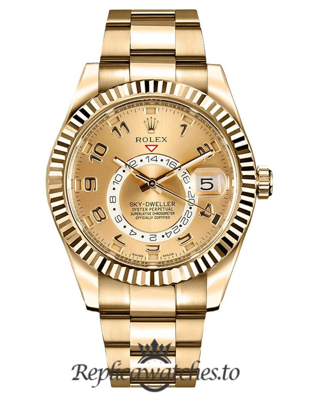 Rolex Sky Dweller Replica 326938 008 Yellow Gold Strap 42MM