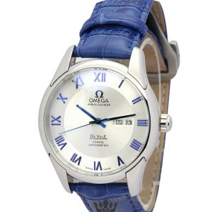 Omega De Ville Hour Vision Blue Leather Replica White Dial 41MM