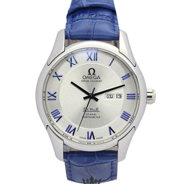 Omega De Ville Hour Vision Blue Leather Replica White Dial 41MM