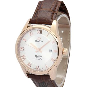 Omega De Ville Hour Vision Rose Gold Case Replica Silver Dial 41MM