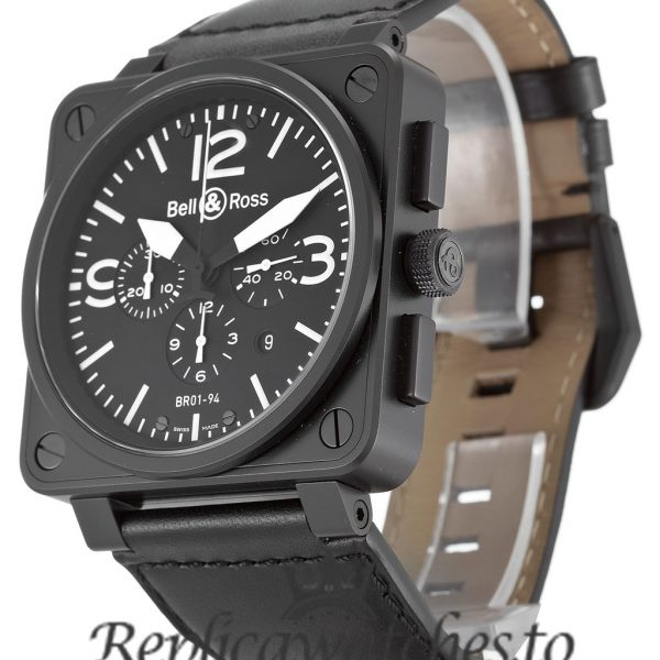 Bell And Ross BR01-94 Chronograph Replica Carbon Black Dial 46MM