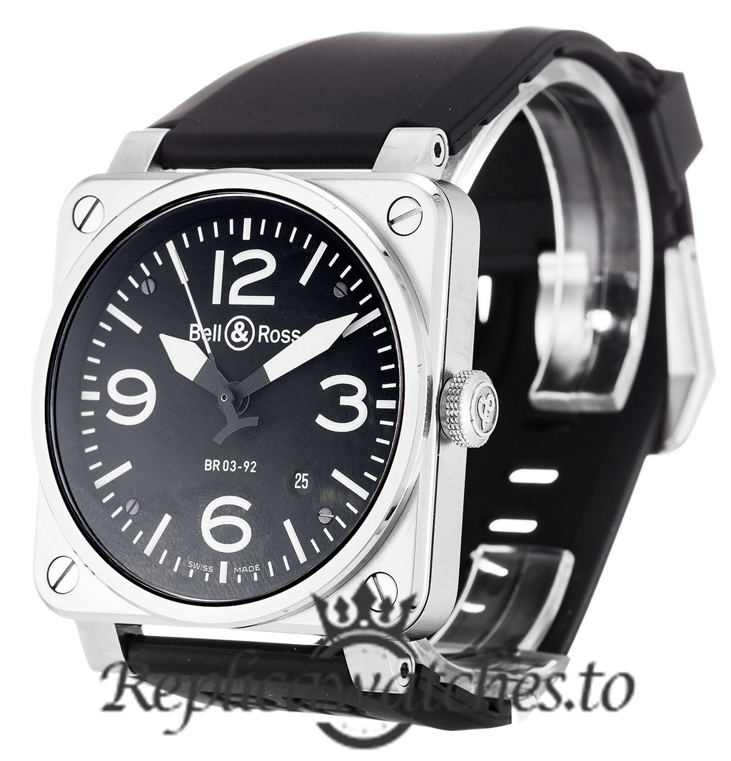 Bell And Ross BR03-92 Replica Steel Black Dial 46MM