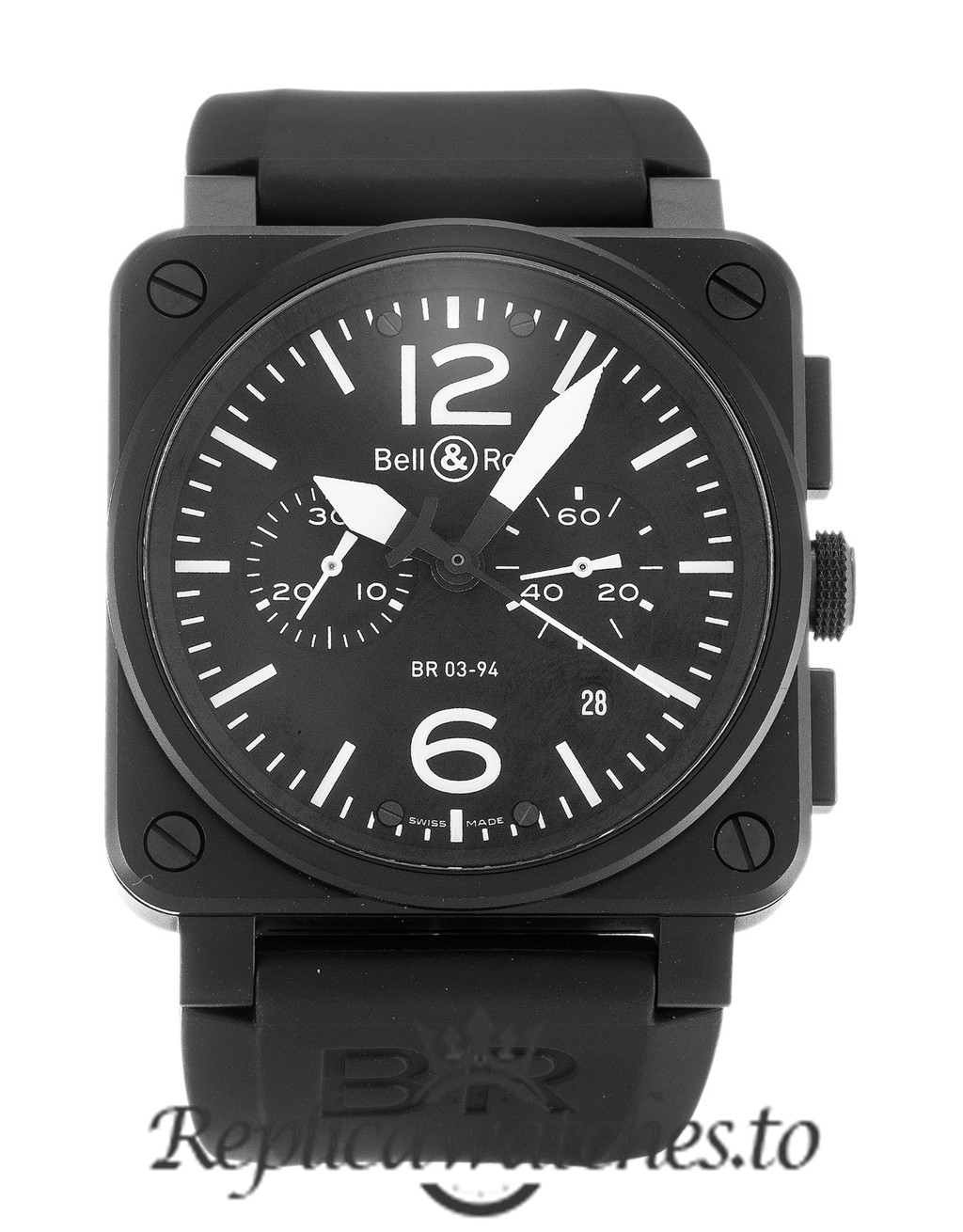 Bell And Ross BR03-94 Chronograph Replica Carbon Black Dial 42MM