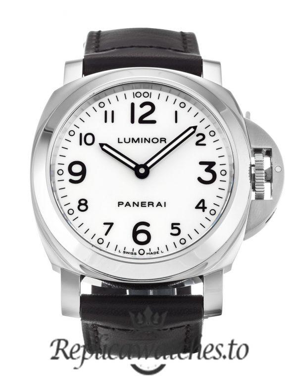 Panerai Luminor Base Replica PAM00114 White Arabic Dial 44MM