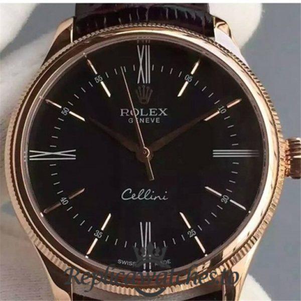 Swiss Rolex Cellini Replica 50505 001 Brown Leather Strap Automatic 39MM
