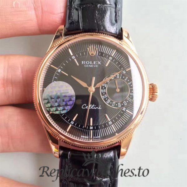 Swiss Rolex Cellini Replica 50525 Brown Leather Strap Automatic 39MM