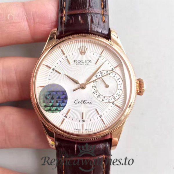 Swiss Rolex Cellini Date Replica 50519 Black Leather Strap Automatic 39MM