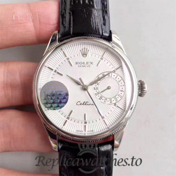 Swiss Rolex Cellini Date Replica 50519 001 Black Leather Strap Automatic 39MM