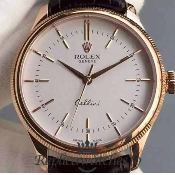 Swiss Rolex Cellini Time Replica 50505 Brown Leather Strap Automatic 39MM