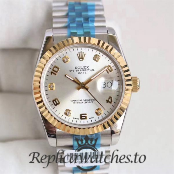 Swiss Rolex Datejust Replica 116233 008 Stainless Steel 410L and 18K Yellow Gold Bracelet Automatic 36MM