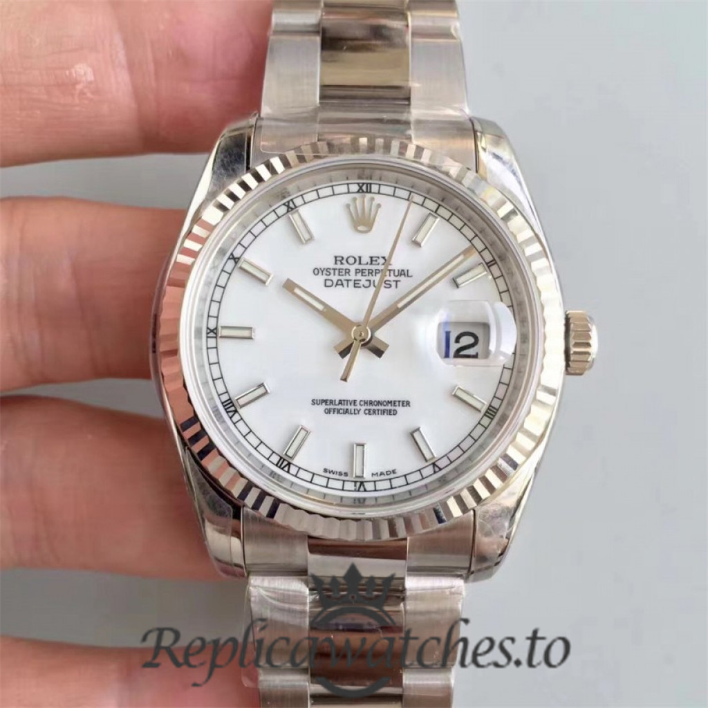 Swiss Rolex Datejust Replica 116234 008 Stainless Steel 904L Bracelet Automatic 36mm