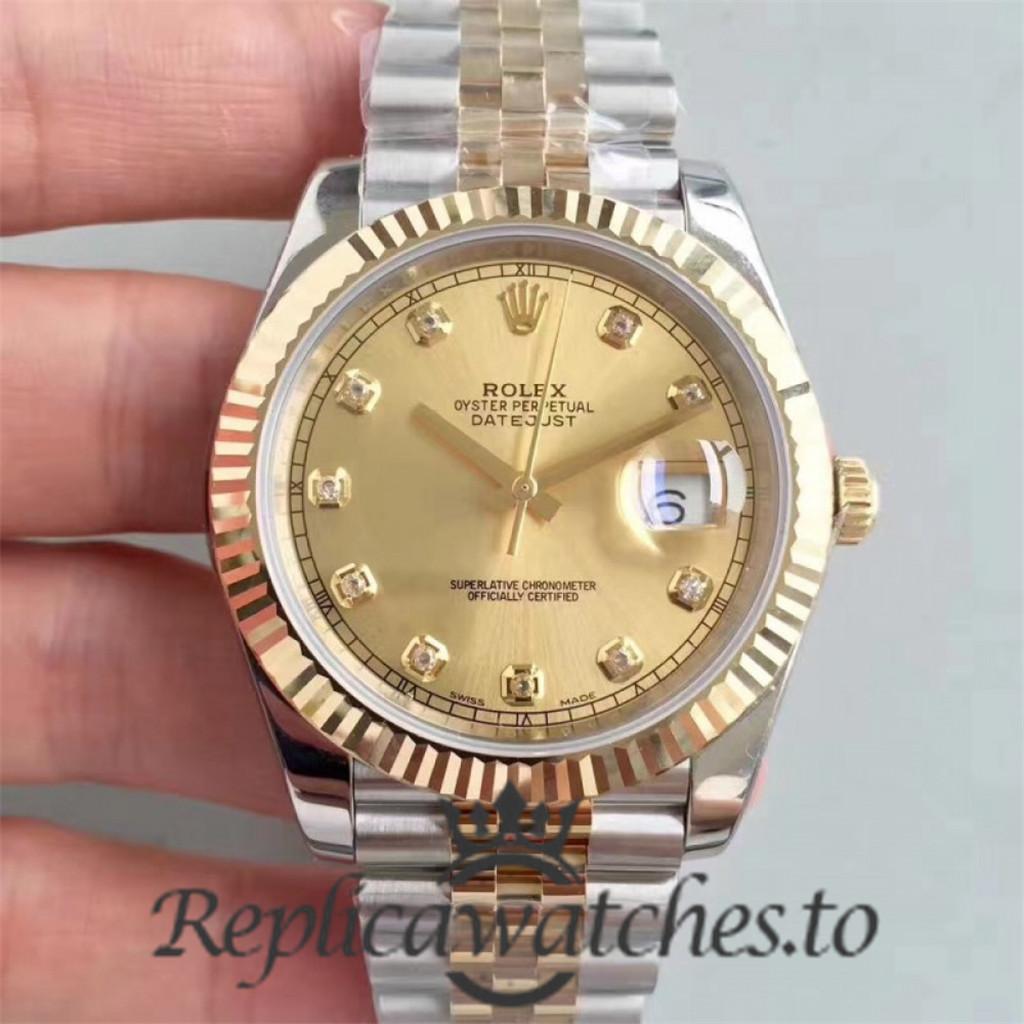 Swiss Rolex Datejust Replica 116333 001 18K Yellow Gold Bezel Automatic 41MM