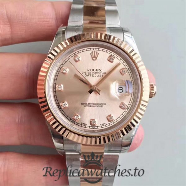 Swiss Rolex Datejust Replica 116333 014 Stainless Steel 410L and 18K Rose Gold Bracelet Automatic 41mm