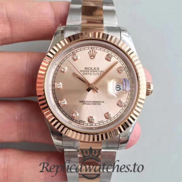Swiss Rolex Datejust Replica 116333 017 Stainless Steel 410L and 18K Rose Gold Bracelet Automatic 41mm