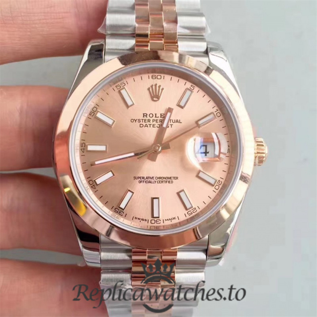 Swiss Rolex Datejust Replica 116333 022 Stainless Steel 410L and 18K Rose Gold Wrapped Bracelet Automatic 41MM