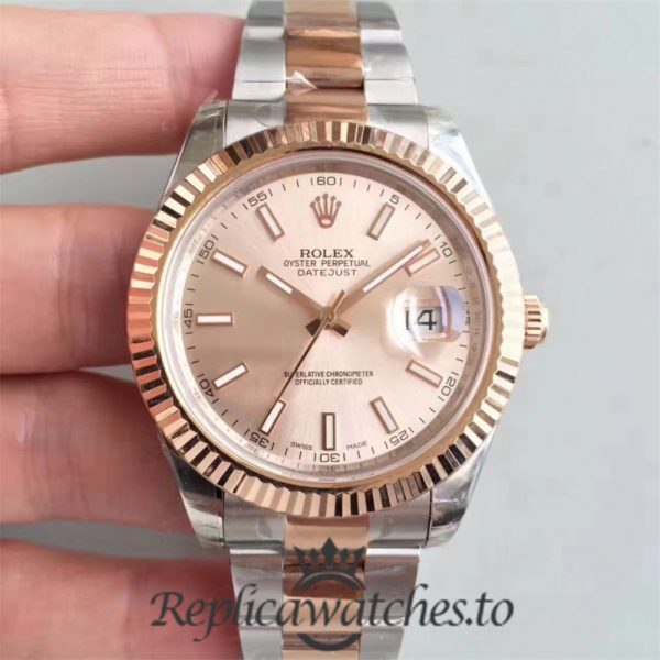 Swiss Rolex Datejust Replica 116333 023 Stainless Steel 410L and 18K Rose Gold Bracelet Automatic 41MM