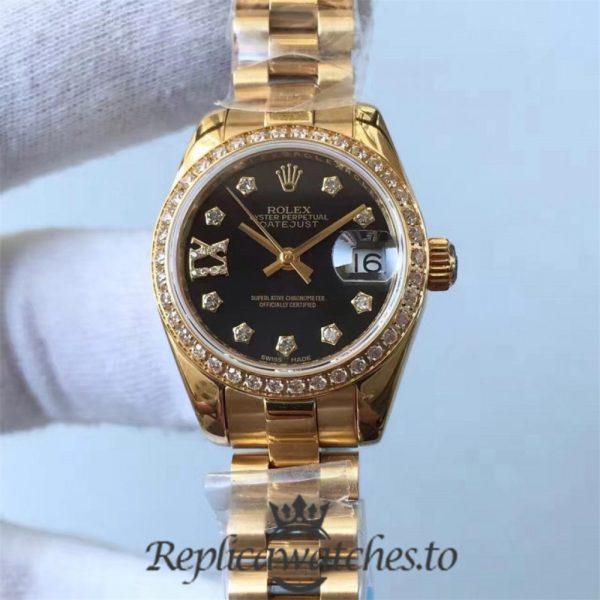 Swiss Rolex Datejust Replica 279138RBR 001 18K Yellow Gold Automatic 28mm