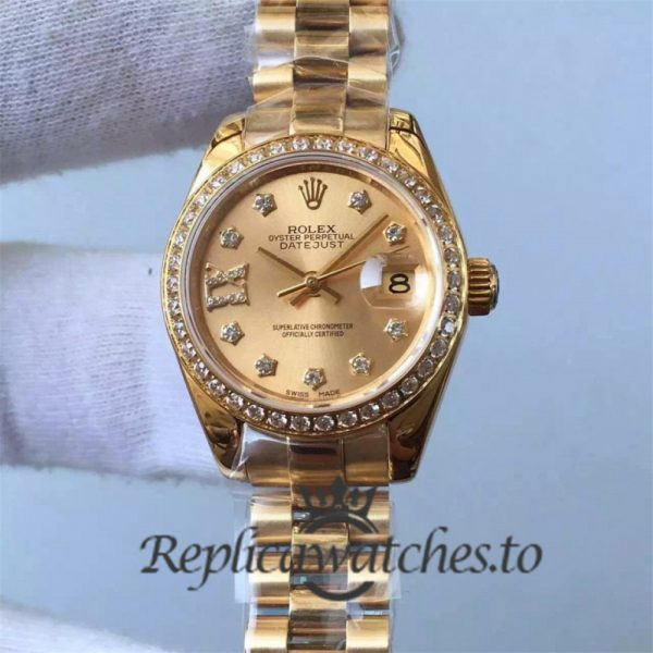 Swiss Rolex Datejust Replica 279138RBR 18K Yellow Gold Automatic 28mm