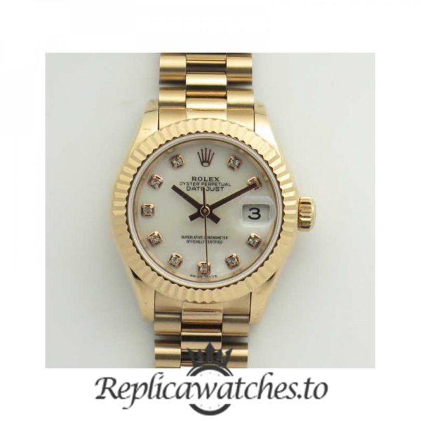 Swiss Rolex Datejust Replica 279165 005 18K Rose Gold Bracelet Automatic 28MM