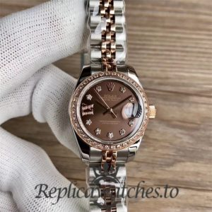 Swiss Replica Rolex Lady Datejust 279381RBR 001 Stainless Steel 410L And 18K Rose Gold Bracelet Automatic 28MM