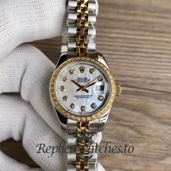 Swiss Rolex Datejust Replica 279383 001 Stainless Steel 410L and 18K Yellow Gold Bracelet Automatic 28 mm