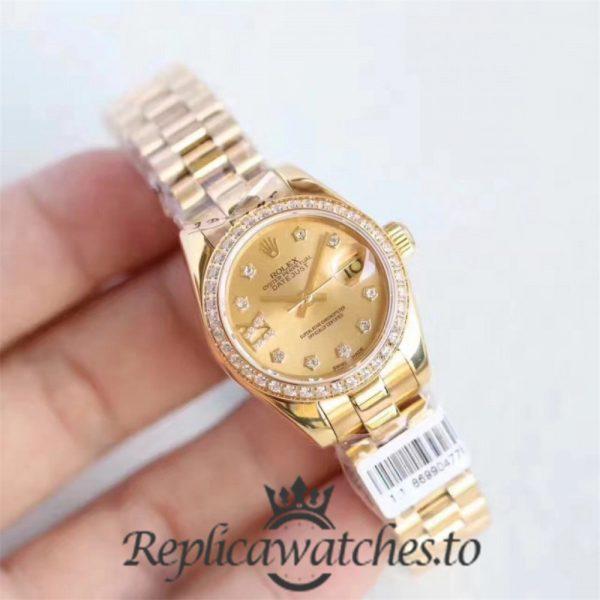 Swiss Rolex Lady Datejust Replica 279135RBR 18K Rose Gold Strap Automatic 28MM