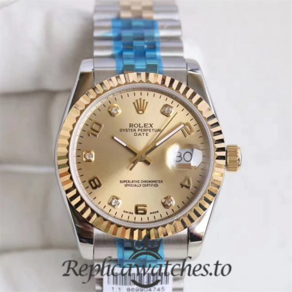 Swiss Rolex Datejust Replica 116233 010 Stainless Steel 410L and 18K Yellow Gold Bracelet Automatic 361MM