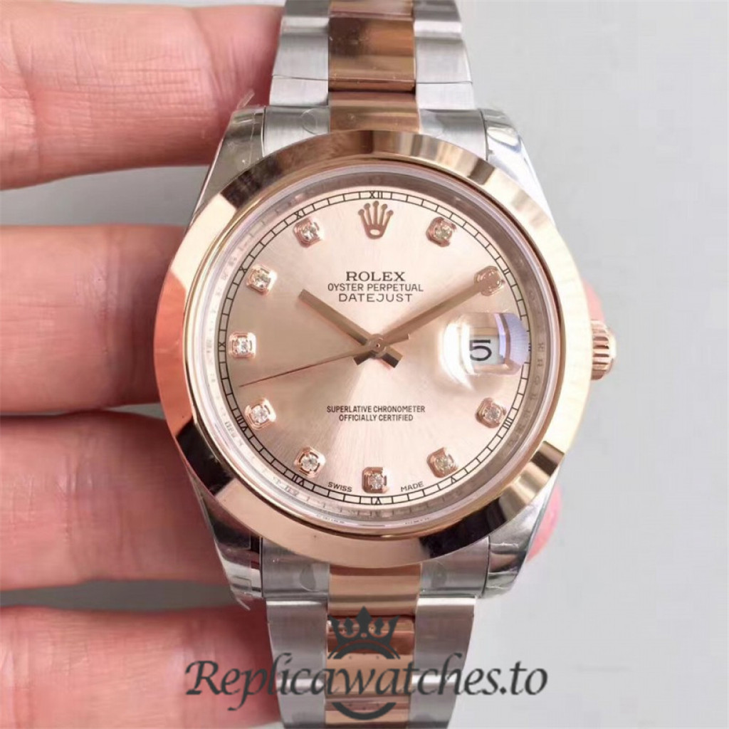 Swiss Rolex Datejust Replica 116333 032 Stainless Steel 410L and 18K Rose Gold Bracelet Automatic 41MM