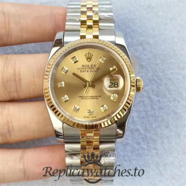 Swiss Rolex Datejust Replica 126333 016 Stainless Steel 410L and 18K Yellow Gold Bracelet Automatic 41MM