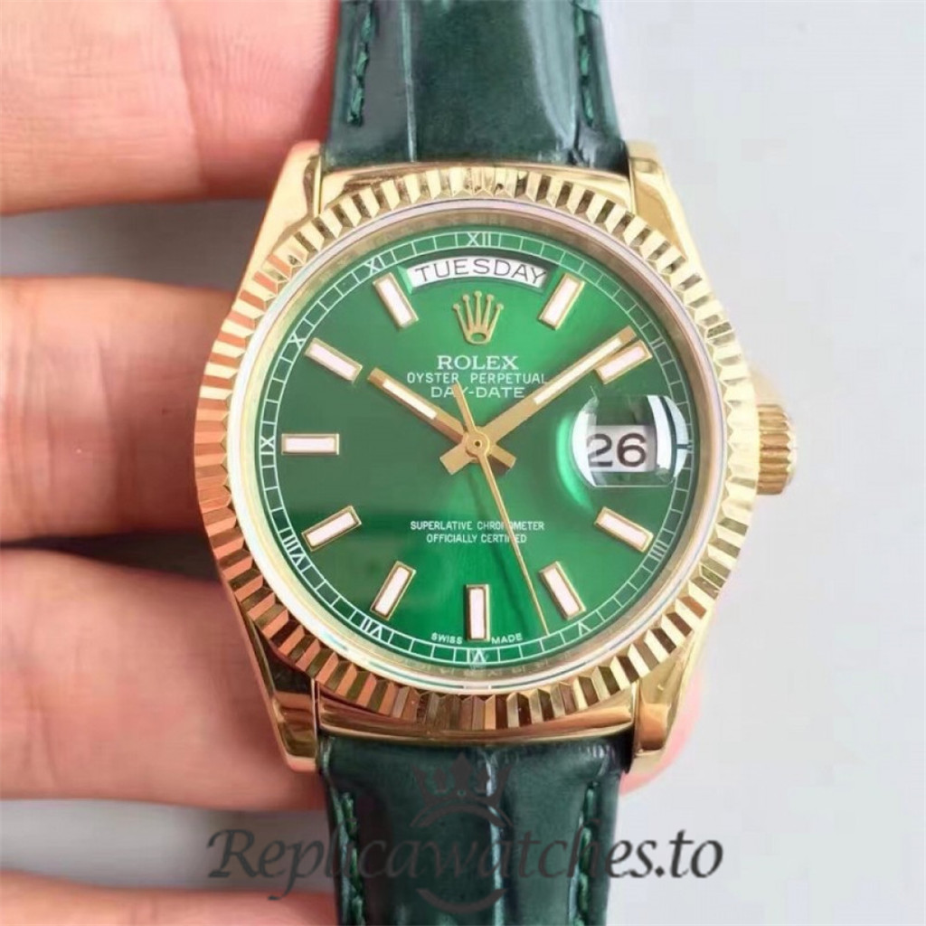 Swiss Rolex Day-Date Replica 118138 Green Leather Automatic 36MM