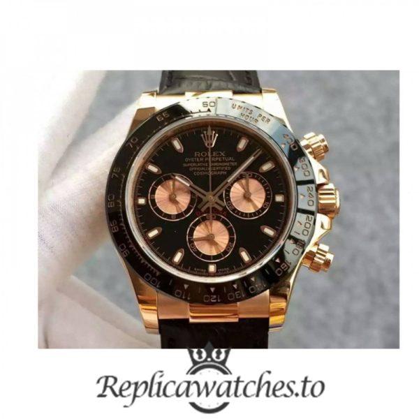 Swiss Rolex Daytona Replica 116515 012 Black Leather Automatic 40 mm