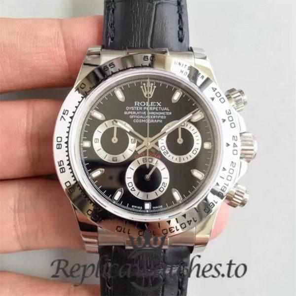 Swiss Rolex Daytona Replica 116520 Black Leather Automatic 40mm