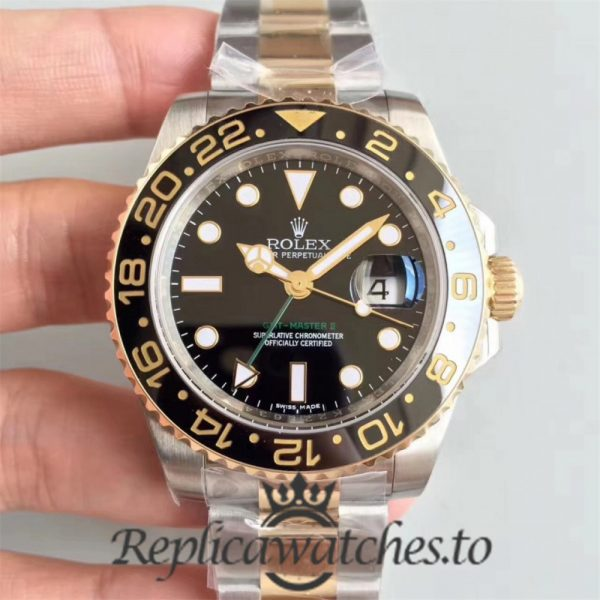 Swiss Rolex GMT-Master Replica 116713LN 24K Yellow Gold Wrapped and Stainless Steel 410L Automatic 40mm