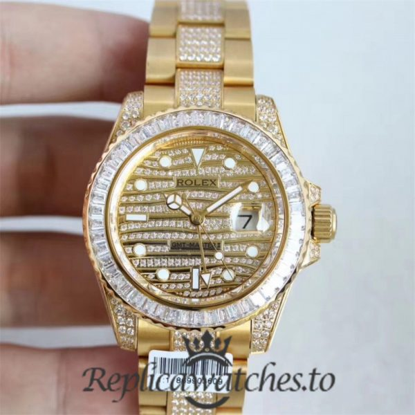 Swiss Rolex GMT-Master Replica 116769 001 18K Yellow Gold and Diamonds Automatic 40mm