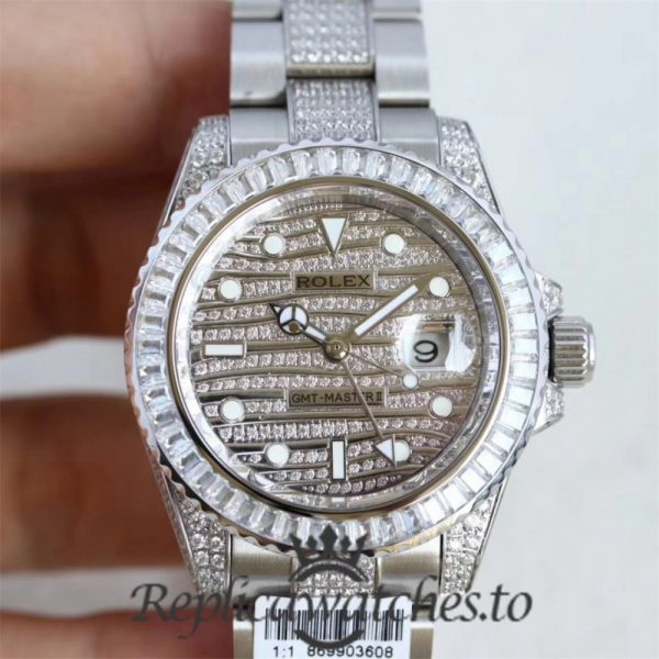 Swiss Rolex GMT-Master Replica 116769 Stainless Steel 410L and Diamonds Automatic 40mm