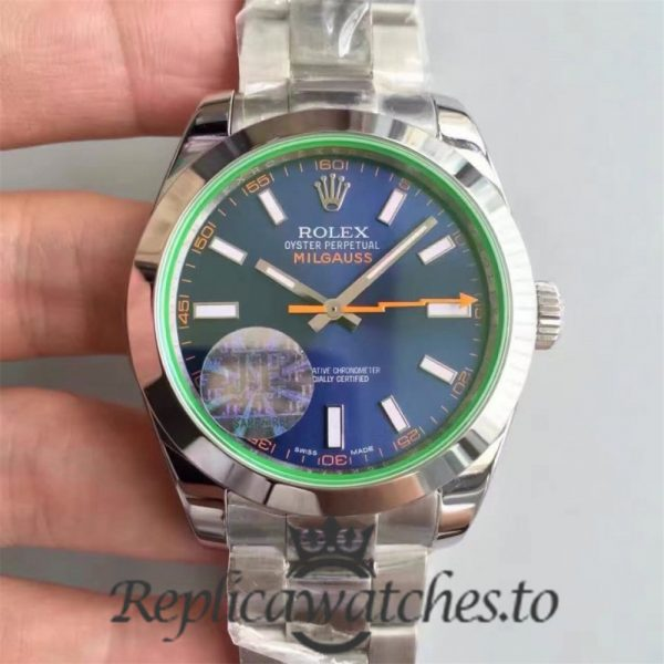 Swiss Rolex Milgauss Replica 116400GV 005 Stainless Steel 410L Automatic 40mm
