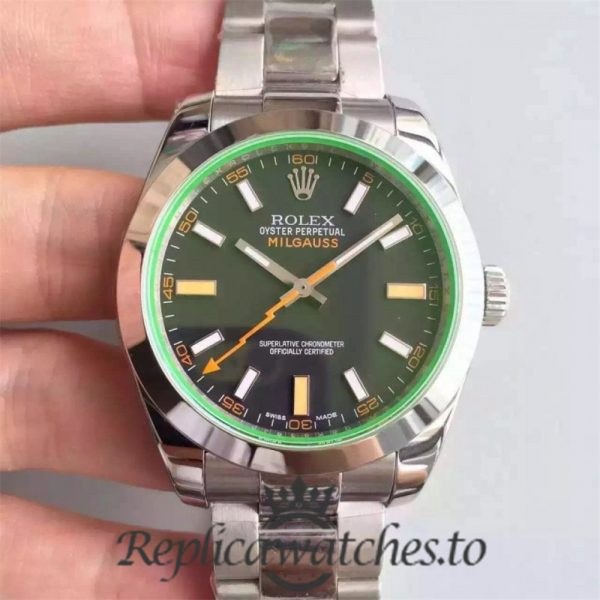 Swiss Rolex Milgauss Replica 116400GV 007 Stainless Steel 410L Automatic 40mm