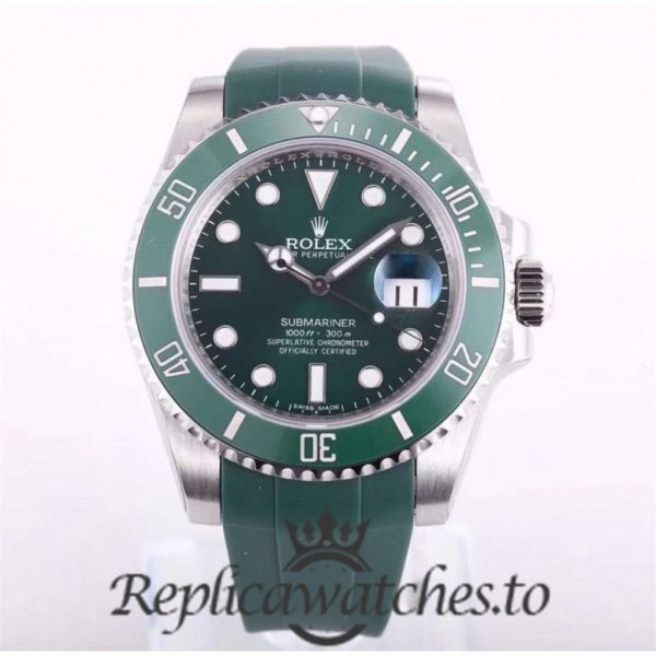 Swiss Rolex Submariner Replica 116610LV 008 Green Rubber Automatic 40mm