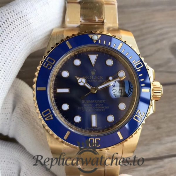 Swiss Rolex Submariner Replica 116618LB 001 18K Yellow Gold Wrapped Automatic 40mm