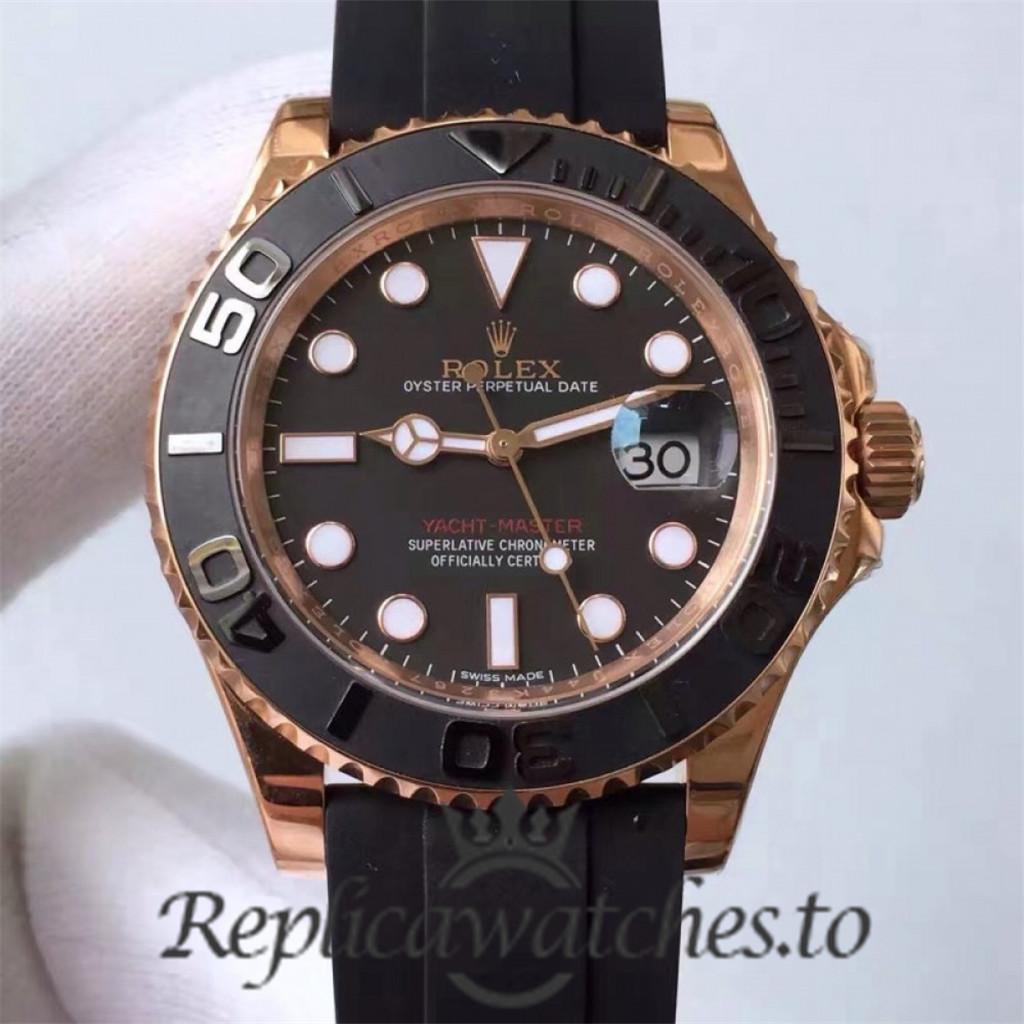 Swiss Rolex Yacht-Master Replica 116655 010 Black Rubber Automatic 40mm