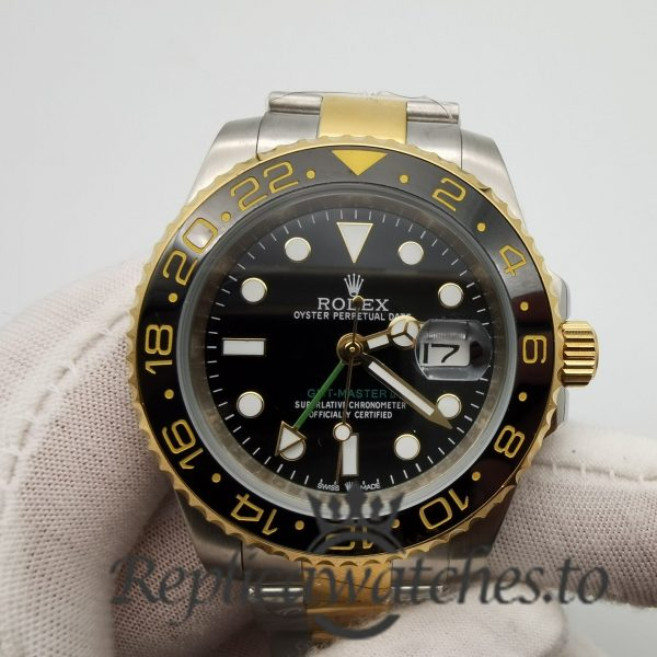 Rolex Gmt-master 16753 40mm 18k Yellow Gold And Black And Black Dial For Men Watch