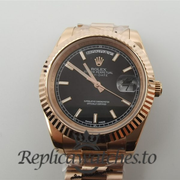 Rolex Day-date 218235 For Men Rose Gold And Black Dial 41mm Watch