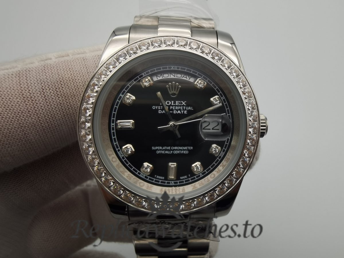 Rolex Day-Date 228349RBR 40mm Rose Gold Bracelet And Black Dial For Men Watch
