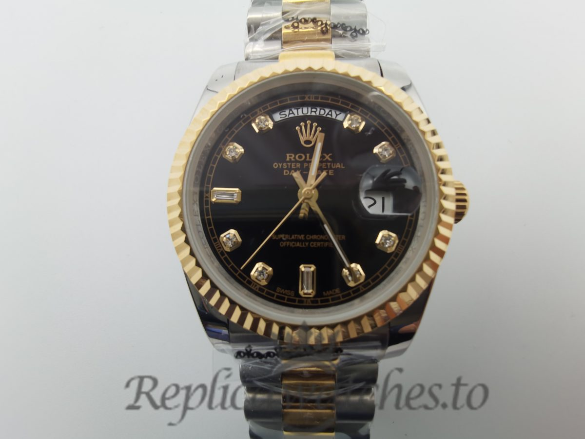 Rolex Day-date 118238 36mm Stainless Steel Yellow Gold And Black Dial For Men Watch