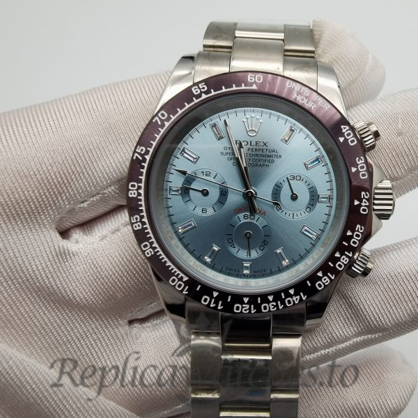 Rolex Daytona 116506 40mm Light Blue Dial And Silver Strap For Men Watch