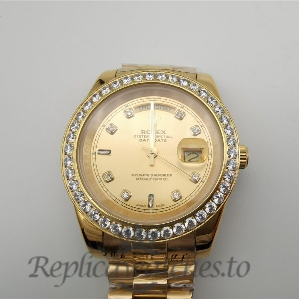 Rolex Day-Date 128348rbr 36mm Champagne Dial And 18ct Yellow Gold With Diamonds For Men Watch