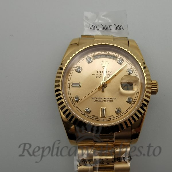Rolex Day-Date 118238 36mm For Men Yellow Gold Champagne Diamond Watch