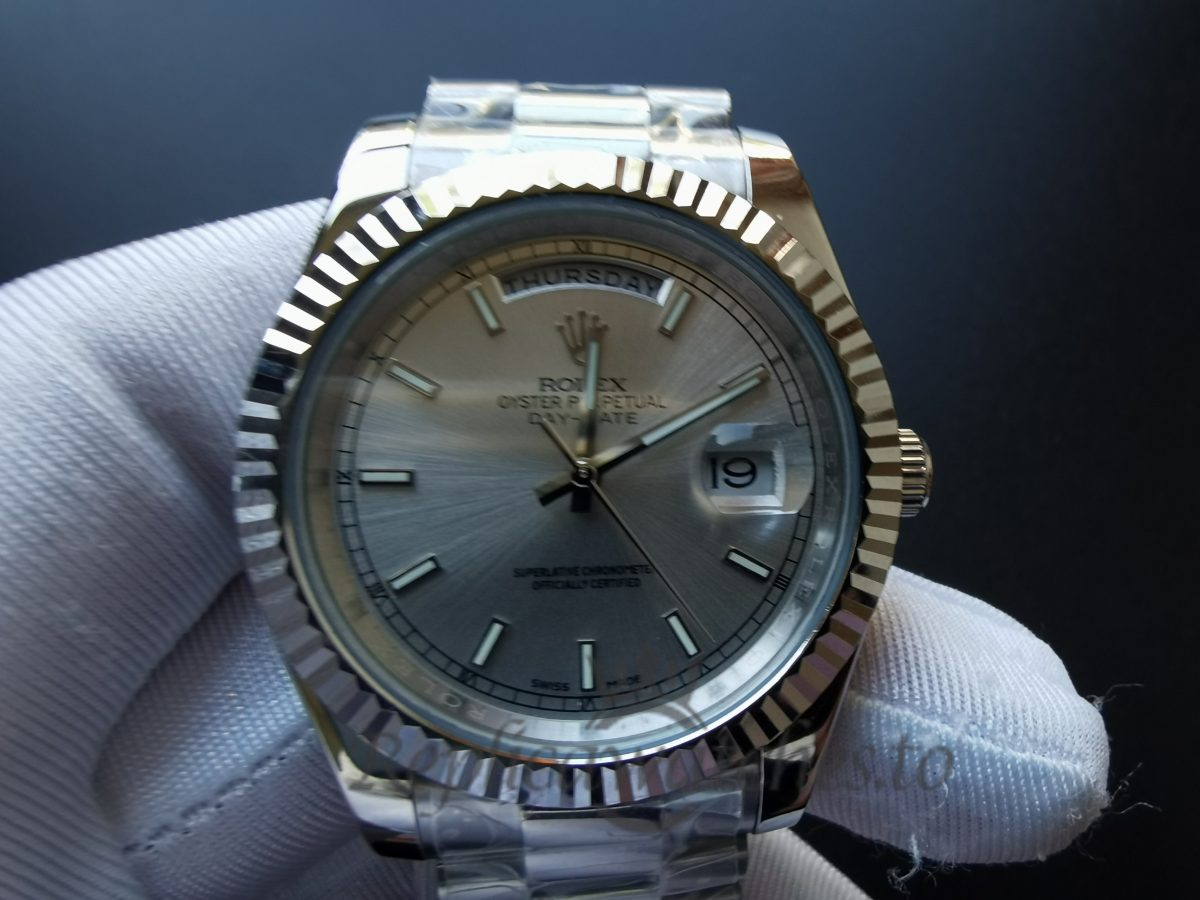 Rolex Day-Date 218239 White Gold And Silver 41mm For Men Watch